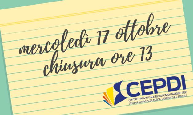 Mercoledì 17 ottobre chiusura ore 13